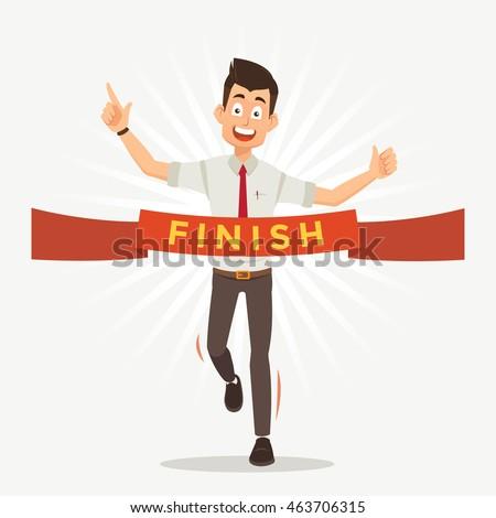 businessman run cross finish line word stock vector royalty free