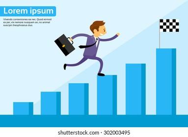 Businessman Run Financial Bar Graph Cartoon Business Man Climbing Growth Chart Flat Vector Illustration