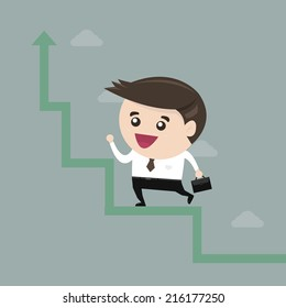 Businessman run in a growth, flat design