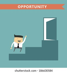 Businessman run  up the ladder to the opened door. Opportunity and success business concept. Vector illustration