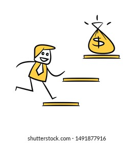 businessman run up to money sack  for financial freedom concept yellow stick figure design