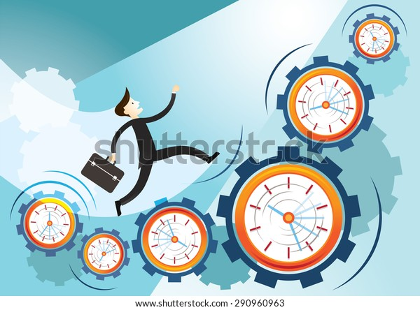 Businessman Run on Gears and Clocks, Time and Way to Success Concept