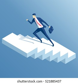 businessman run up the stairs isometric vector illustration, an employee climbs up the stairs, business concept growth and the path to success