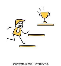 businessman run up to trophy yellow stick figure design