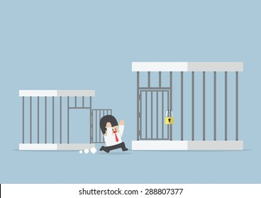 Businessman runing out from small cage to the bigger cage, VECTOR, EPS10
