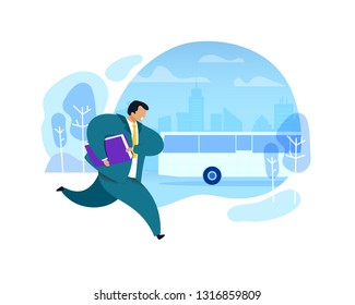 Businessman Running after Bus Vector Illustration. Office Worker in Suite with Briefcase Hurrying up. Busy Employee Rushing. Work Rush, Daily Routine Flat Clipart. Morning City, Bus Stop Background