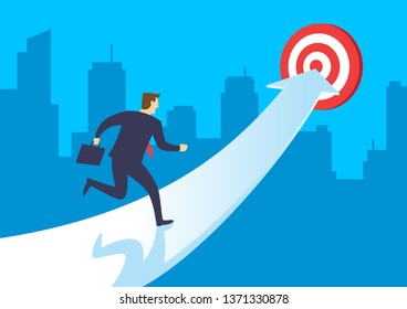 Businessman running up arrow go to achieve the target. Business concept growth and the path to success, Flat design vector illustration