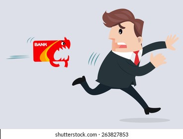 businessman running away from credit card