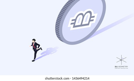 Businessman running away from money. Wrong promotion development strategy. Conceptual isometric vector illustration.