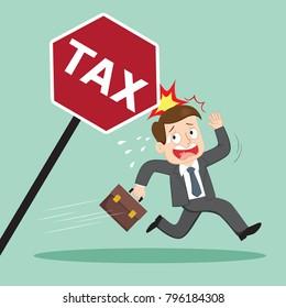 Businessman running away from tax, illustration vector cartoon
