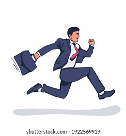 Businessman running with briefcase. Dynamic business concept. Late for work. Successful man in a suit run for work. Vector illustration sketch design. Isolated on background. Business people.