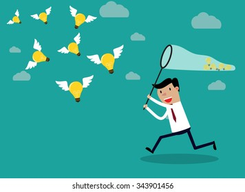 Businessman running with butterfly net catching light bulbs which are flying in the air. Idea business concept. Vector illustration