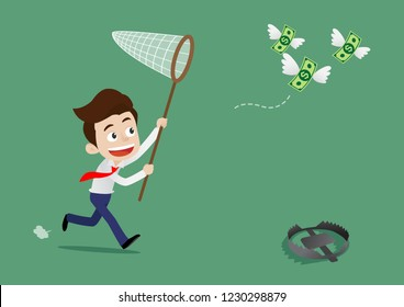 Businessman was running to catch the flying money and not aware of dangerous traps ahead, Cartoon vector illustration