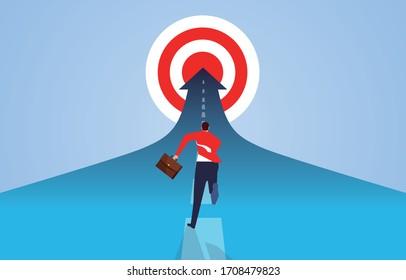 Businessman running desperately to reach the goal, businessman persistent pursuit spirit