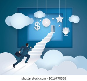 Businessman running to the door on top of the stairs, Challenge, Path to the goal, Business concept growth to success, Creative ideas, Reach the target, Paper art vector and illustration.