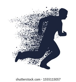 Businessman running forward. Abstract illustration. Modern lifestyle metaphor. Particles trail