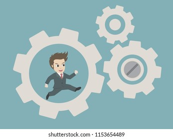 Businessman running in gear mechanism.Business system and business process concept.Cartoon vector eps 10.
