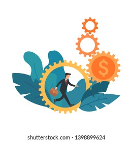 Businessman running in gear wheel. Cogwheel with dollar sign. Business concept of hard work, motivation and success. Flat vector illustration, clip art.