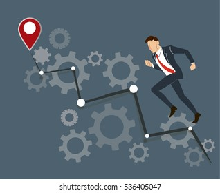 Businessman running with gears and high grape to success vector