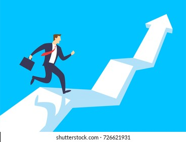 Businessman running up growing graph arrow, Business concept growth and the path to success, Flat design vector illustration