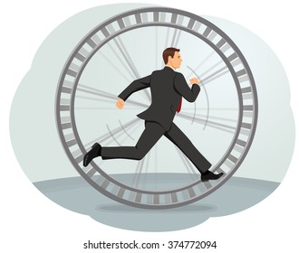 Businessman running in a hamster wheel. Inefficient work.