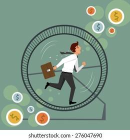 businessman running in a hamster wheel,  vector