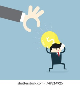 Businessman running and holding a light bulb. The concept of stolen ideas