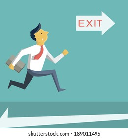 Businessman running in a hurry, looking at arrow with exit sign, and going to open door. Business concept in safety, urgency, security, or emergency.