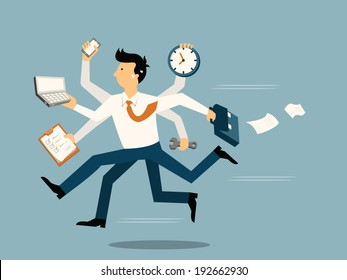 Businessman running in a hurry with many hands holding time, smart phone, laptop, wrench, paper note and briefcase, business concept in very busy or a lot of work to do.