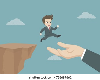 Businessman running and jump from the cliff go to the hand of partnership. Vector illustration for business risk, help and support concepts.
