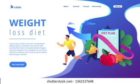 Businessman running and losing weight with diet plan and healthy food, tiny people. Weight loss diet, low-carb diet, healthy meal food concept. Website homepage landing web page template.
