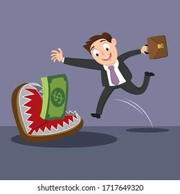 Businessman running to money trap, illustration vector cartoon