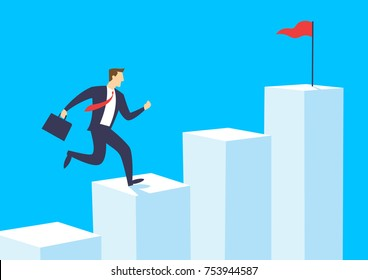 Businessman running on bar chart, Employee climb up to the top of the graph, Business concept growth and the path to success, Flat design vector illustration