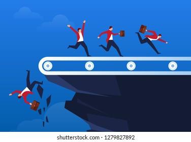 Businessman running on a conveyor belt on a cliff