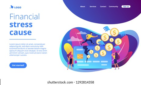 Businessman running on credit card and dollar coins with wings flying away. Overspending, financial stress cause, spend beyond the income concept. Website vibrant violet landing web page template.