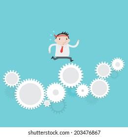 Businessman running  on gear to success- Vector