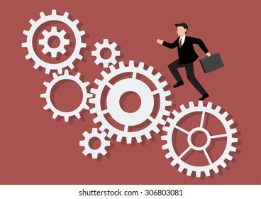 Businessman running on mechanism system. Business Concept