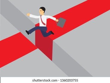 Businessman running on a red road and jumping over a giant gap. Vector cartoon illustration for concept on overcoming digital challenges or transformation - Vector