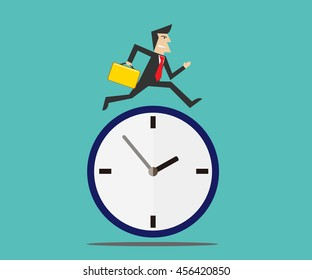 businessman running on time clock