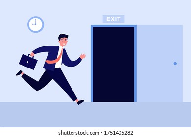 Businessman running to open exit door flat vector illustration. Cartoon office worker using safety way from job during fire or earthquake. Emergency escape and evacuation concept