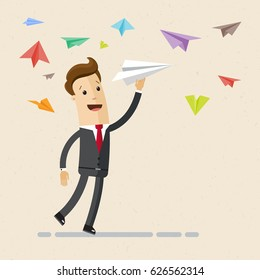 Businessman running with a paper plain in raised hand. Concept of business startup, launch of new project. Vector, illustration, flat