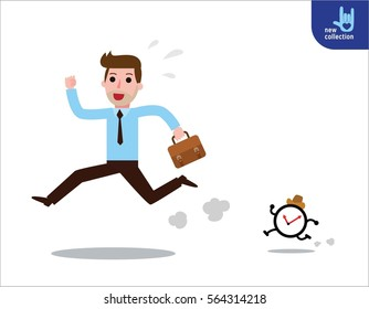 Businessman running a race against time. Vector cartoon character icon design. Business concept.