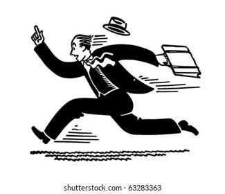 Businessman Running - Retro Clipart Illustration