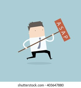Businessman running with sign ASAP.