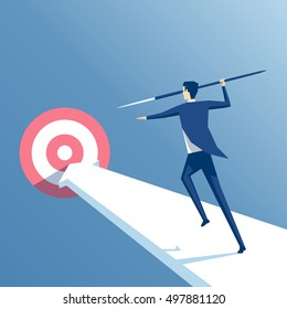 businessman running with a spear to the target, the employee throws a spear into the target, business concept achievement and purpose