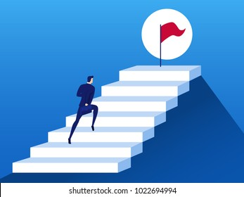 Businessman running up stair step to the flag of success. Opportunities, future business trends. Vision concept. Cartoon Vector Illustration.