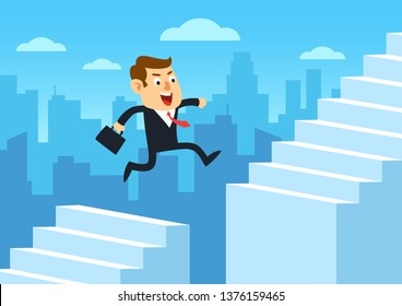 Businessman running up staircase and jumping over chasm, Gap on stairway to success, Business concept of challenge problem solving and overcoming obstacles, Cartoon flat design vector illustration
