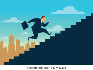 Businessman running up staircase to the top. Business concept growth and the path to success, Flat design vector illustration
