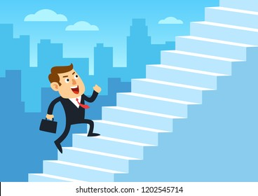 Businessman running up stairway, Employee climb up the staircases, Development business concept growth and the path to successful, Cartoon flat design vector illustration