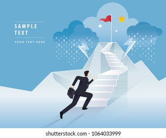 Businessman running up stairway to the Red Flag on mountain, Career, Challenge, Trouble, obstacles, Path to the goal, Business concept growth to success, Reach the target, Cartoon vector illustration